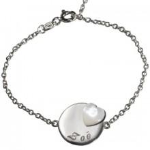 Bracelet Lovely médaille coeur (argent 925° et nacre)  par Petits trésors