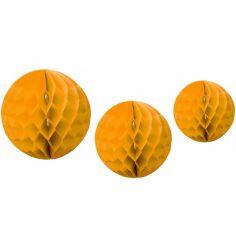 Boules en papier alvéolé jaune moutarde (3 pièces)