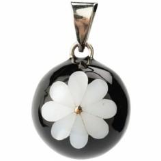 Bola noir fleur blanche