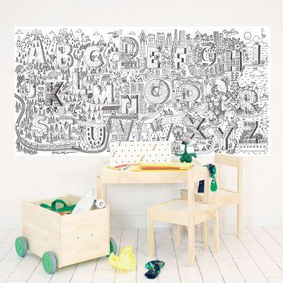 Stickers muraux à colorier Lettres (115 x 240 cm)  par Chispum