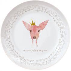 Assiette en porcelaine Biche (personnalisable)