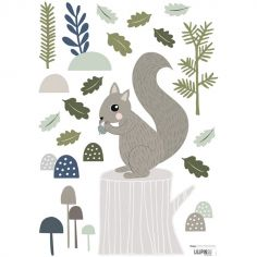 Stickers In the woods écureuil et feuilles de chêne (29,7 x 42 cm)