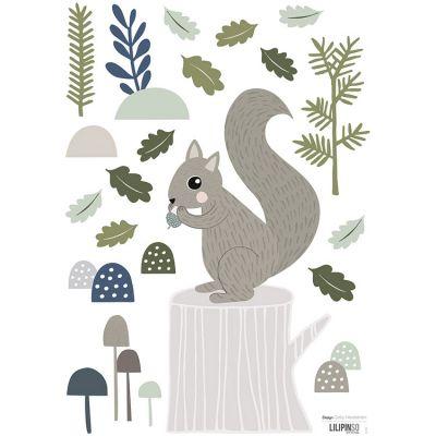 Stickers In the woods écureuil et feuilles de chêne (29,7 x 42 cm)  par Lilipinso