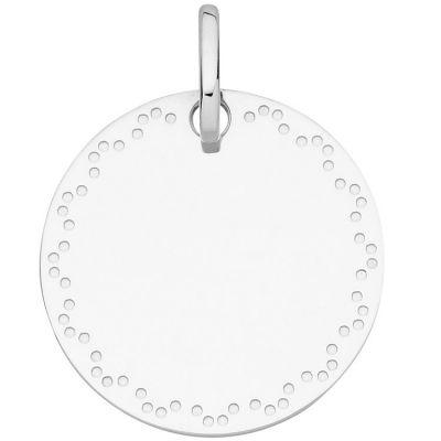 Médaille ronde frise pointillée 16 mm (or blanc 750°)  par Berceau magique bijoux