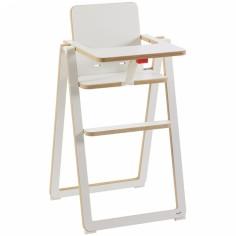 Chaise haute ultra plate blanche en bois de hêtre