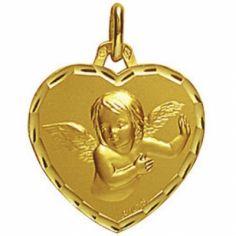 Médaille forme coeur Ange 16 mm facettée (or jaune 750°)