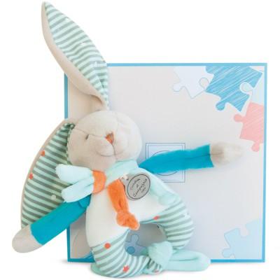 Doudou hochet lapin Happy (15 cm) Doudou et Compagnie