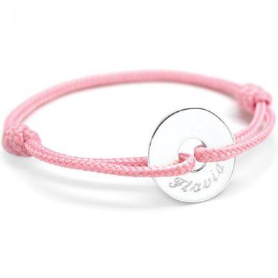 Bracelet cordon Mini jeton (argent 925°)  par Petits trésors