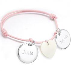 Bracelet cordon Petits Trésors médaille et coeur (argent 925° et nacre)