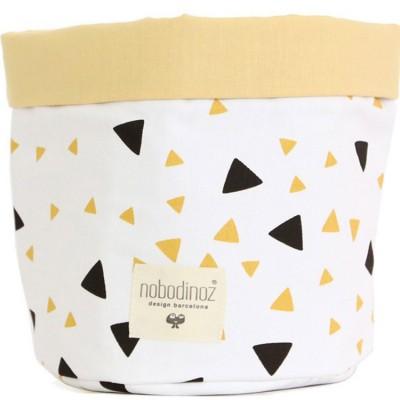 Panier de toilette en tissu Mambo Confettis noir et jaune miel (15 x 16 cm)
