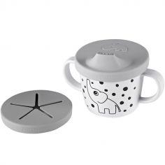 Tasse à bec 2 en 1 Happy Dots gris (230 ml)