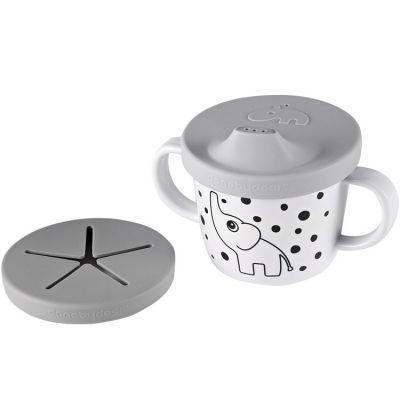 Tasse à bec 2 en 1 Happy Dots gris (230 ml)  par Done by Deer