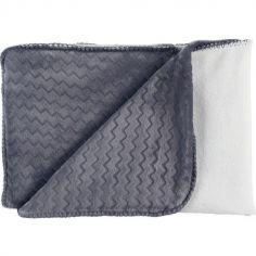 Couverture bicolore Groloudoux Mix & Match bleue et écrue (100 x 140 cm)