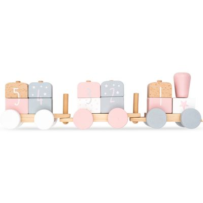 Train de construction en bois rose et blanc  par Jollein