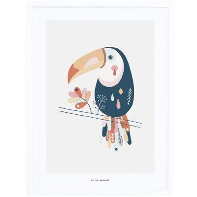 Affiche encadrée toucan Paradisio pastel (30 x 40 cm) Lilipinso
