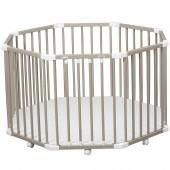 Parc bébé à plancher Florian II en bois massif laqué gris clair - Combelle