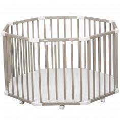 Parc bébé à plancher Florian II en bois massif laqué gris clair