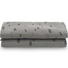Lot de 2 maxi langes hydrophiles Spot storm grey gris (115 x 115 cm)