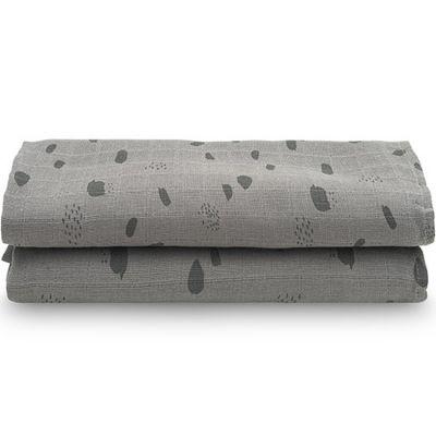 Lot de 2 maxi langes hydrophiles Spot storm grey gris (115 x 115 cm)  par Jollein