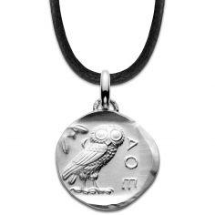 Collier cordon noir Chouette d'Athènes 18 mm (argent 950°)