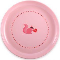 Assiette plate écureuil rose