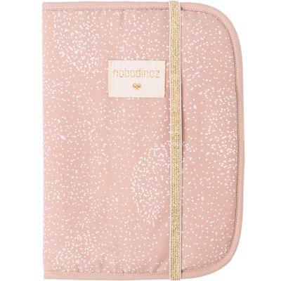 Protège carnet de santé Poema coton bio White bubble Misty pink  par Nobodinoz