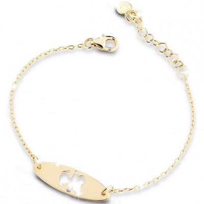 Bracelet sur chaîne Primegioie fille ovale allongé perforé (or jaune 375°)