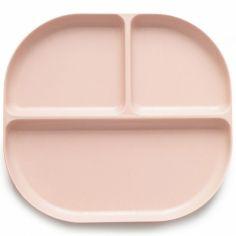Assiette à compartiments en bambou Bambino rose poudré
