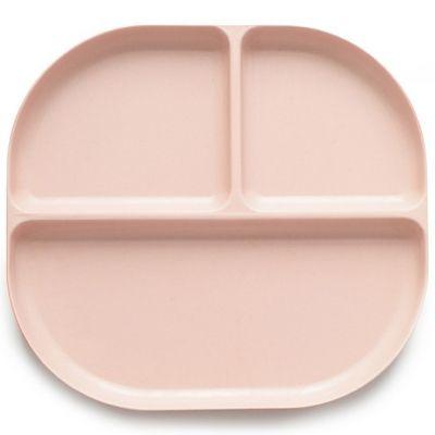 Assiette à compartiments en bambou Bambino rose poudré  par EKOBO