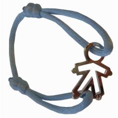 Bracelet cordon silhouette ajourée petit garçon 20 mm (argent 925°)