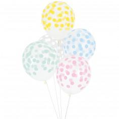 Ballons de baudruche confettis pastel (5 pièces)