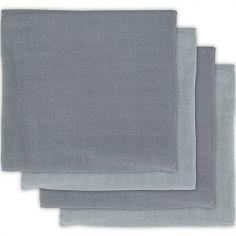 Lot de 4 langes en bambou storm grey gris (70 x 70 cm)