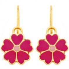 Boucles d'oreilles brisure Fleur fuchsia et rose (or jaune 750°)