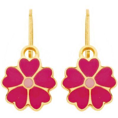 Boucles d'oreilles brisure Fleur fuchsia et rose (or jaune 750°)  par Berceau magique bijoux