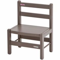 Chaise basse en bois massif laqué taupe