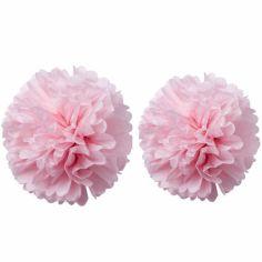 Pompons papier de soie rose (2 pièces)