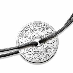 Bracelet cordon noir médaille 25 centimes 20 mm (argent 950°)