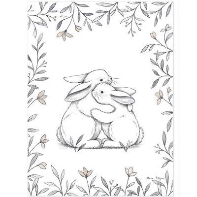 Affiche lapin d'amour (30 x 40 cm)