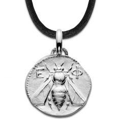 Collier cordon noir Abeille d'Ephèse 18 mm (argent 950°)