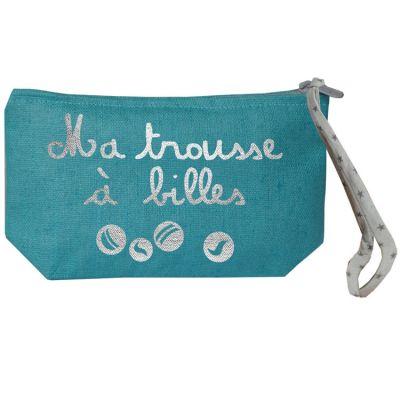 Pochette à billes bleue canard (personnalisable)  par Les Griottes