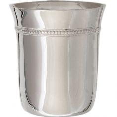 Timbale Evasée Perles en métal argenté dans son coffret (personnalisable)