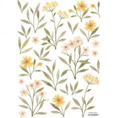 Stickers Oh deer fleurs oranges et jaunes (29,7 x 42 cm)