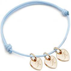 Bracelet cordon 3 charms coeur personnalisable (plaqué or)