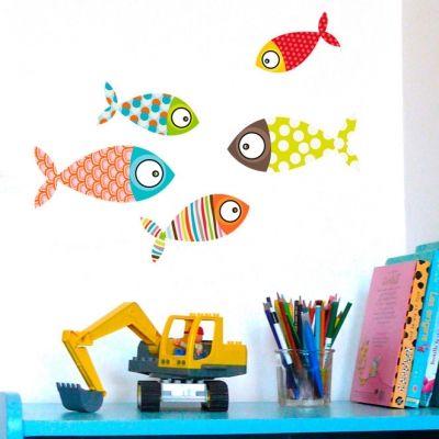Stickers muraux Poissons multicolores  par Série-Golo