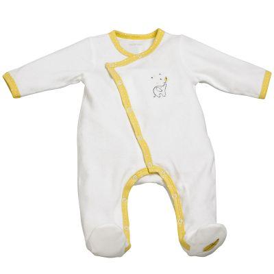 Pyjama chaud Babyfan blanc et jaune (1 mois)  par Sauthon