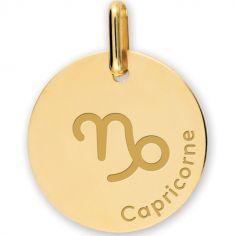 Médaille zodiaque Capricorne personnalisable (or jaune 375°)