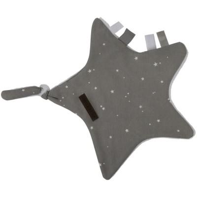 Doudou attache sucette Little stars grey Little Dutch