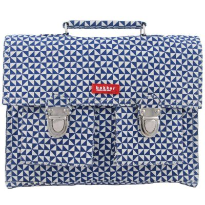 Petit cartable canvas Sails bleu et blanc  par Bakker made with love