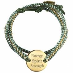 Bracelet cuir maman Indian Vert Small (Plaqué or et cuir)