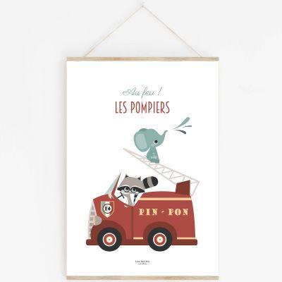 Affiche A4 Au feu les pompiers avec support  par Lutin Petit Pois